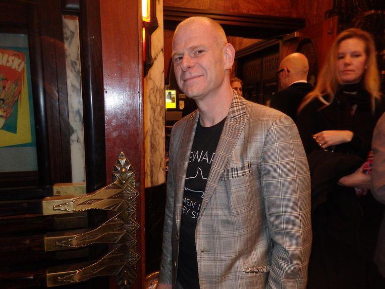 Tom Holkenburg (Junkie XL), componist van de film en eventjes over vanuit LA. Met wie wil hij op de foto? 'Ik ken hier niemand' Beeld Schuim
