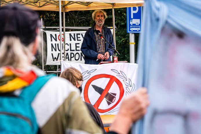 Actievoerders bij vliegbasis Volkel demonstreerden vorige maand tegen kernwapens op de internationale dag voor de afschaffing van kernwapens.
