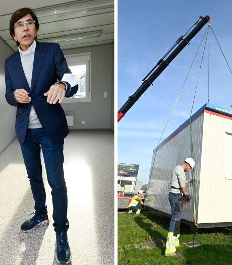 Arrivée des premiers containers destinés aux indépendants victimes des inondations à Trooz
