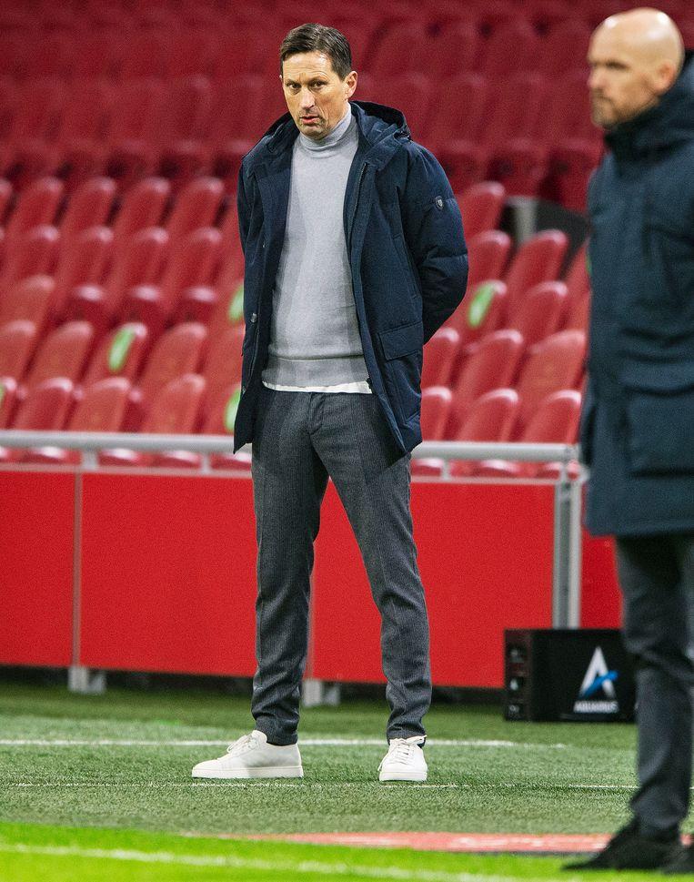 Roger Schmidt neemt het zondag met PSV op tegen Ajax met trainer Erik ten Hag. Beeld Guus Dubbelman / de Volkskrant