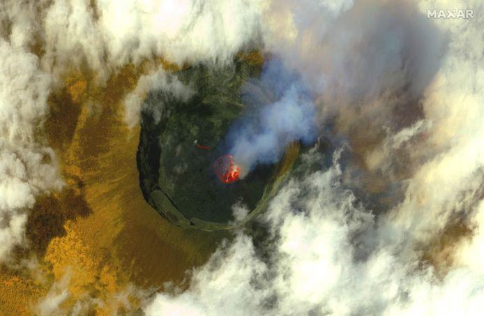 De Nyiragongo-vulkaan bij de Oost-Congolese stad Goma.