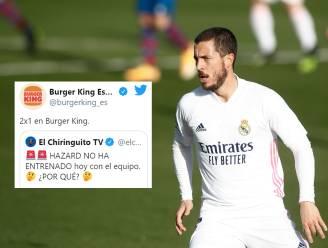 """'Burger King España' weet waarom Eden Hazard niet op training was: """"Er loopt een 2x1-aanbieding..."""""""