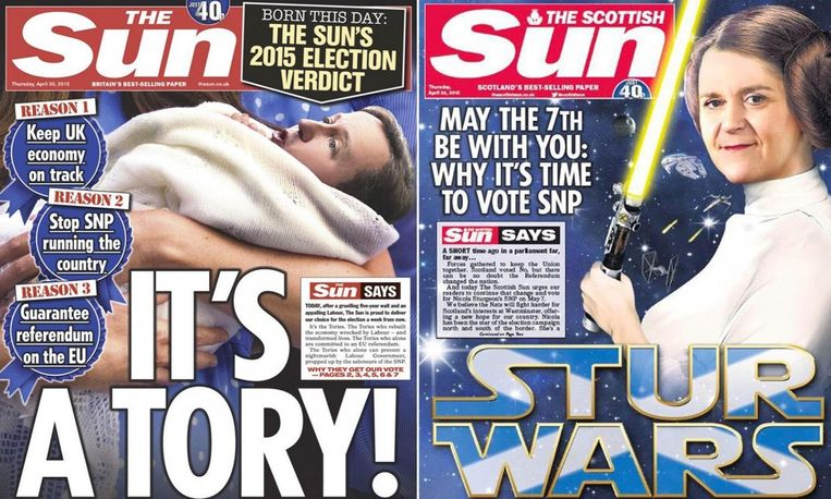 Links de Britse editie die oproept voor Cameron te stemmen, rechts de Schotse editie die oproept voor SNP te stemmen. Beeld The Sun