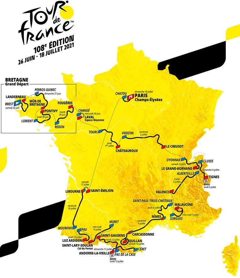 Het parcours van de Tour van 2021. Beeld AP