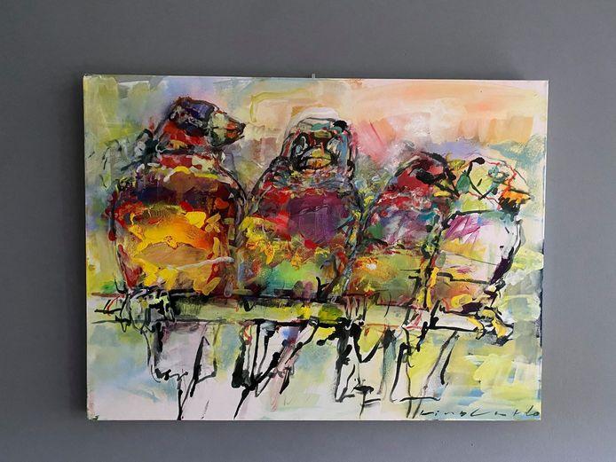 Mijts huurt via Kunstuitleen Voorburg, het maandelijkse huurbedrag van dit schilderij is 14 euro.