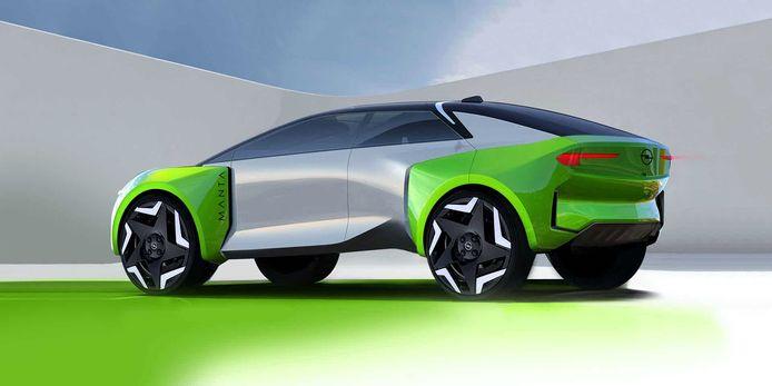 Dit is de Manta-e concept car, die hint naar de hogere gezinsauto die in 2025 verschijnt.