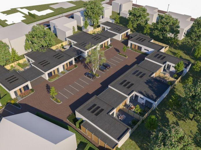Een impressiebeeld van de geplande bungalows op de locatie van autobedrijf Fassbender aan de Hoofdstraat in Schijndel.