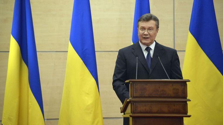 Eduard Stavytski was minister onder het regime van Viktor Janoekovitsj (foto), de afgezette president in Oekraïne. Beeld AFP