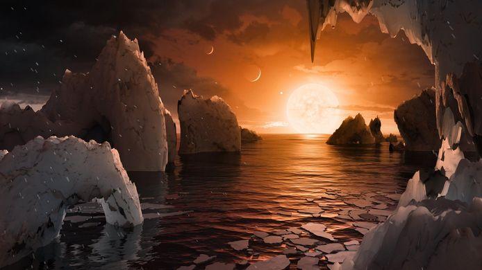 Een illustratie die toont hoe het oppervlak van een van de planeten er zou kunnen uitzien.