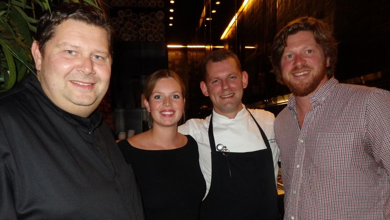 Chef-kok Schilo van Coevorden (Taiko), Nina van het Spijker (Conservatorium Hotel), sous-chef Rieks Renz en Nick Russell (The Wasabi Company) (vlnr). Beeld Schuim
