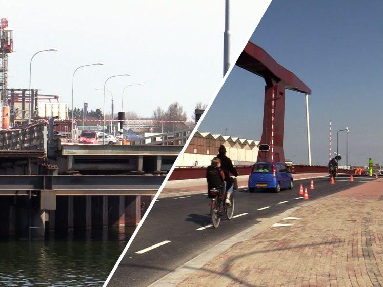 Dokbrug open, versleten Koningsbrug weg