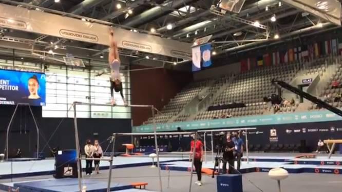 """Nina Derwael tankt in Osijek met zege op brug vertrouwen, maar uitvoering moet beter voor olympisch goud: """"Score ligt onder doel Tokio"""""""