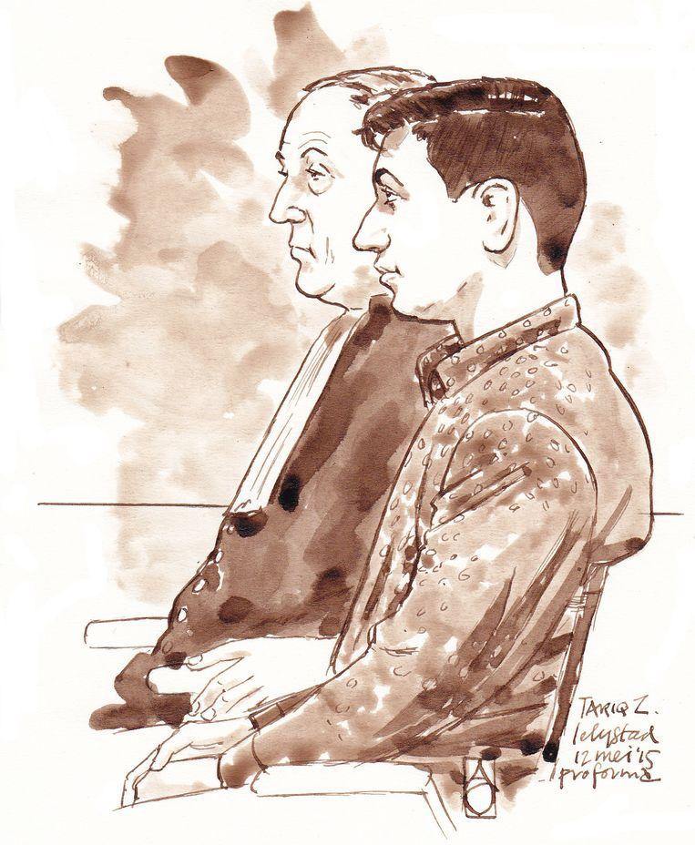Rechtbanktekening van Tarik Z. samen met zijn zijn advocaat Beeld ANP