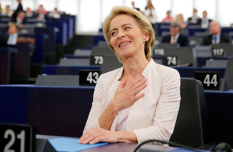Ursula von der Leyen nadat bekend is geworden dat ze is verkozen als voorzitter van de Europese Commissie.  Beeld REUTERS