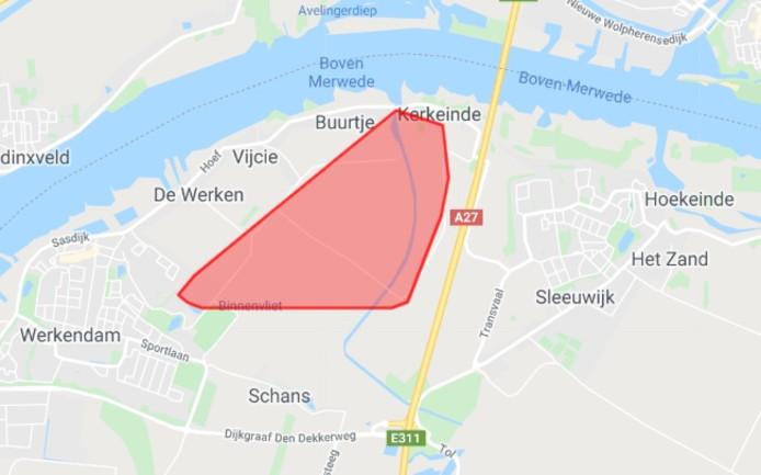 Het gebied dat is getroffen door de stroomstoring in Sleeuwijk.