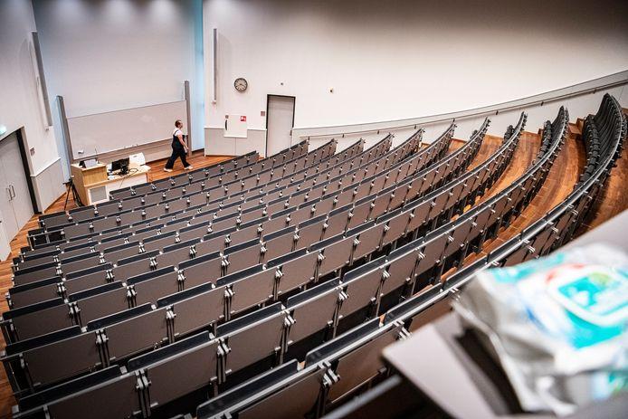 Deze collegezaal van de Nijmeegse Radboud Universiteit is nu nog leeg.