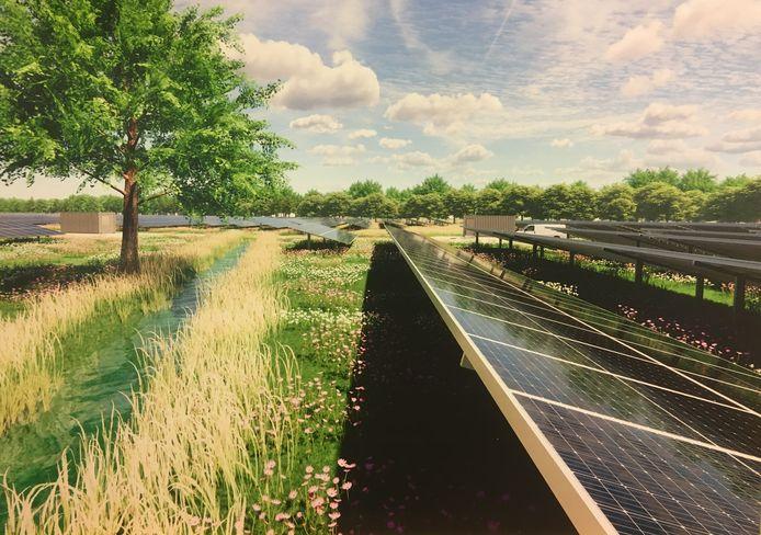 Artist's impression van zonnepark de Horst, tussen Epe en Oene. Omwonenden hebben zich met de komst ervan verzoend, maar vragen zich af of het hierbij blijft.