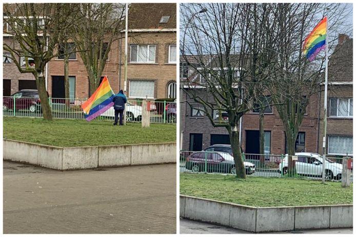 De vlag werd vorige week nog opgehangen.