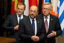 Donald Tusk, Martin Schulz en Jean-Claude Juncker