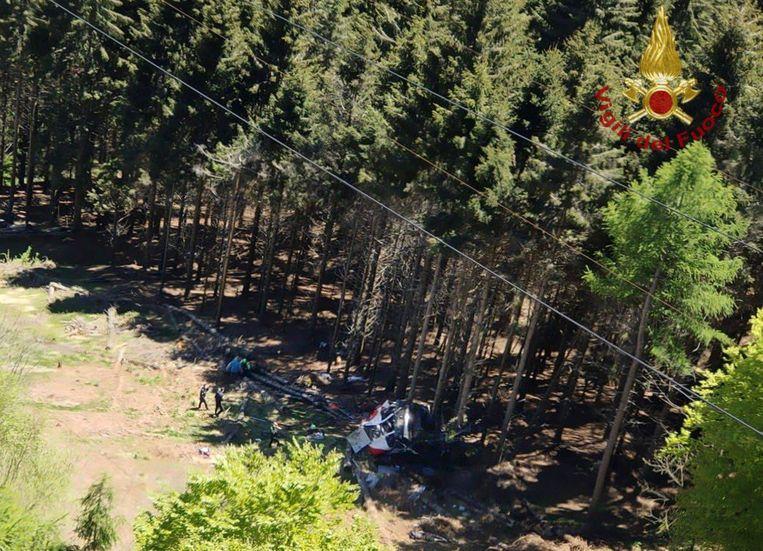Een foto van de cabine die is verstrekt door de Italiaanse brandweer.  Beeld AFP