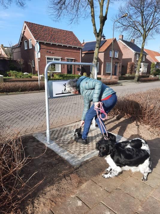 Een hondenbezitter gooit een gevuld poepzakje in één van de nieuwe Pet Pots in Wernhout