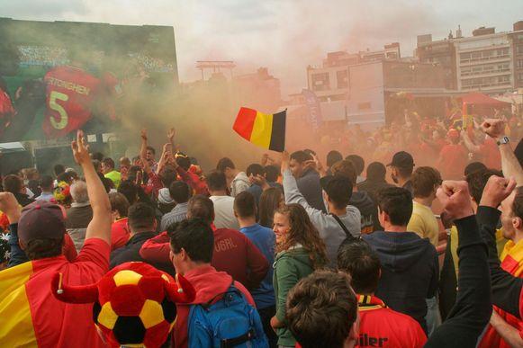 Bij het WK in 2014 stond het fandorp op de Grote Markt.