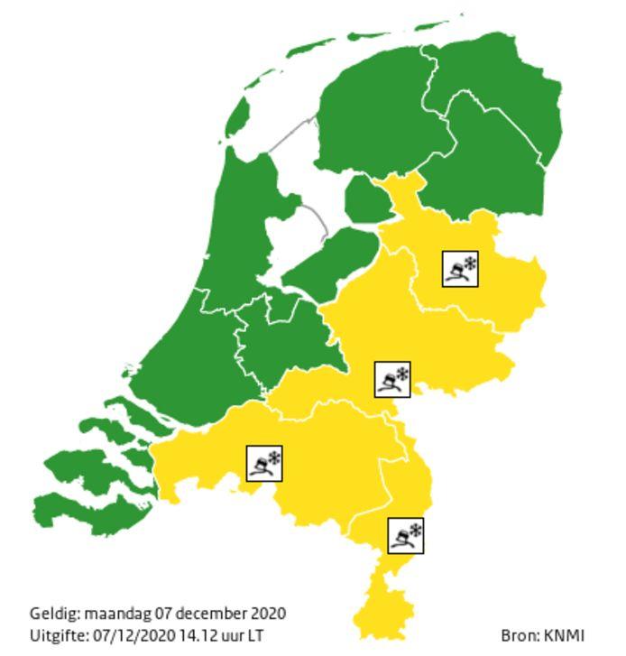 Het KNMI geeft code geel af voor een deel van het land.