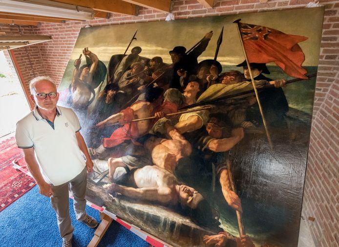 Klaar voor transport: het reusachtige schilderij uit 1857 van Ernest Slingeneyer. Zeven jaar stond het in het restauratieatelier in Putten, nu gaat het naar Erfgoed Landfort.