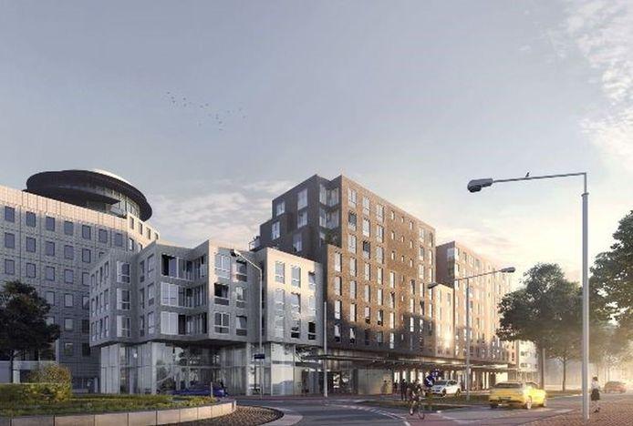 Toekomstig appartementencomplex De Johan van Beverwijck aan de Spuiboulevard in Dordrecht.