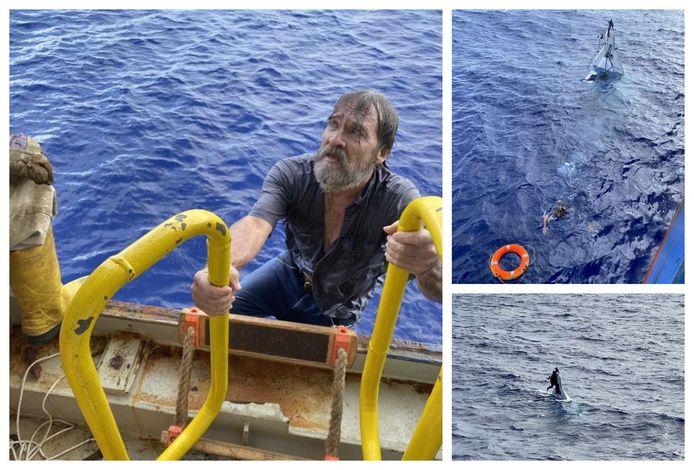 De bemanning van het containerschip Angeles kon drenkeling Stuart Bee (62) in veiligheid brengen.  Een bemanningslid maakte enkele foto's, die door de kustwacht zijn vrijgegeven.