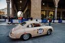 De klassieke Porsche 356 Carrera waarmee onze verslaggever Werner Budding deelneemt aan de Mille Miglia.