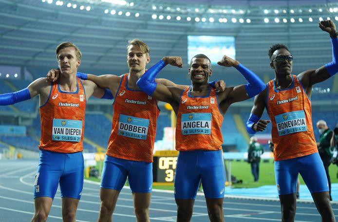 Van links naar rechts: Tony van Diepen, Jochem Dobber, Ramsey Angela en Liemarvin Bonevacia.