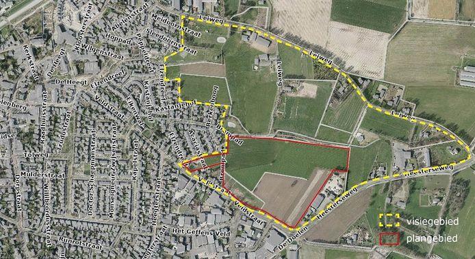 Geffen krijgt een nieuwe woonwijk. Die moet gerealiseerd worden in het rood gearceerde gebied. De gemeente Oss betrekt de rest van het gebied - geel gearceerd - bij de planvorming.