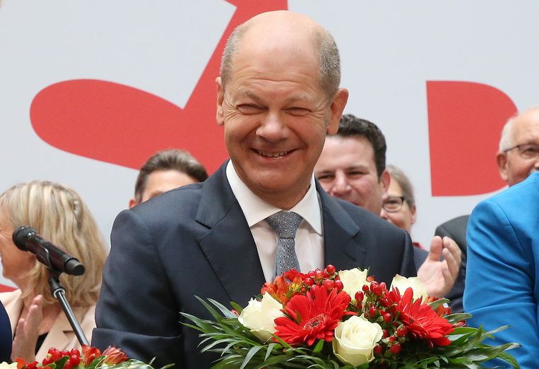 Olaf Scholz, de leider van de SPD. Beeld Wolfgang Kumm/dpa