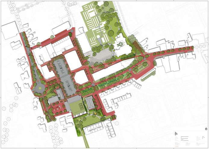 Een plattegrond van het nieuwe centrum van Reusel, waarin de voormalige provinciale weg (de Wilhelminalaan) niet langer het dorp door midden splitst. De lange 'potloodvorm' is het huidige gemeentehuis (dat blijft staan).