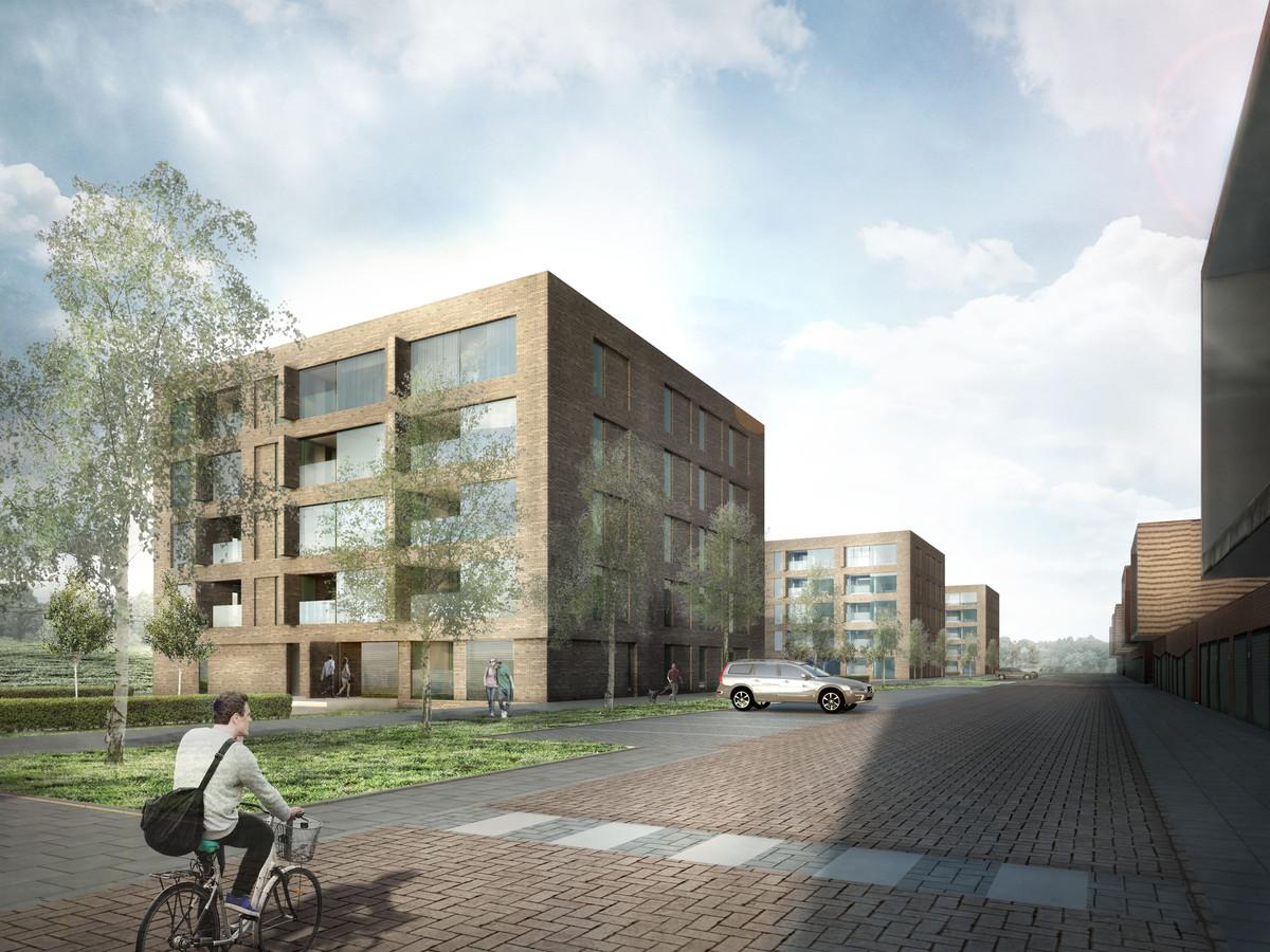 Impressie van de 81 woningen aan de Overloonstraat in de Reeshof.  Er verrijzen drie appartementencomplexen.