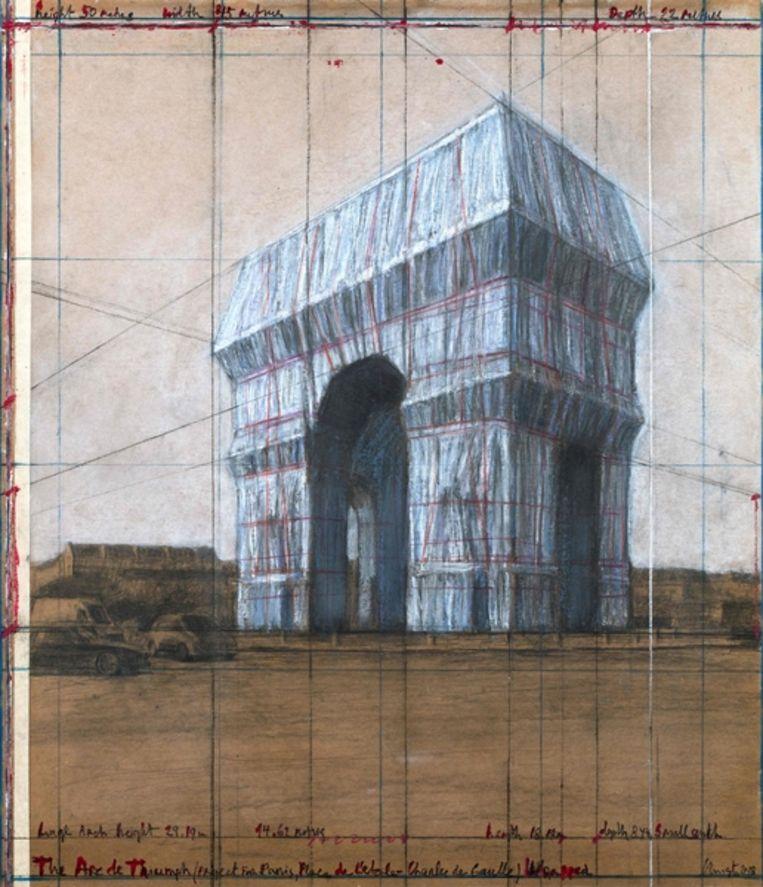 Impressie van een ingepakte Arc de Triomphe, voorbereidende tekening door de kunstenaar Christo. Beeld AFP
