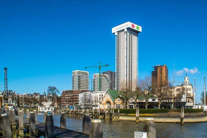De Zalmhaventoren vanuit de Zalmhaven in Rotterdam.