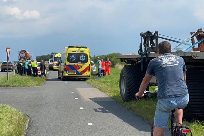 De M.A. Reinaldaweg in Lopik, vlak na het ongeval.
