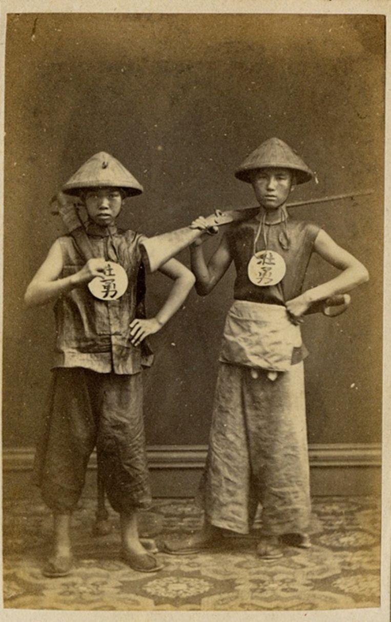 Twee Chinese soldaten in 1850. Beeld
