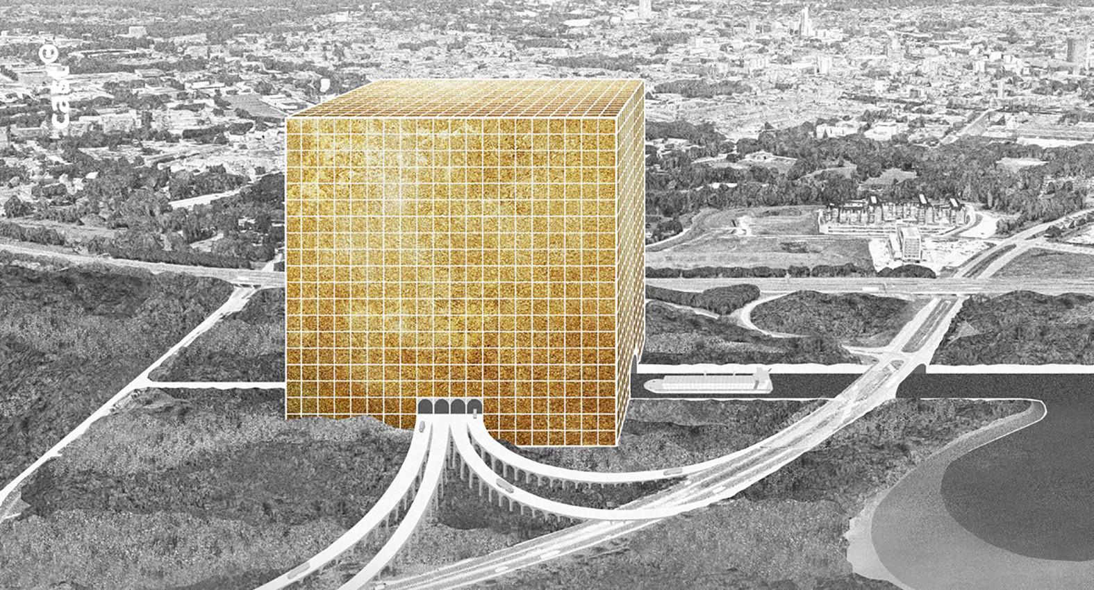 De Gouden Doos, een futuristisch distributiecentrum aan de A58 in Tilburg, ontworpen door Vincent van Heesch, Bram van de Sanden, Lex Hildenbrant en Nout Sterk.