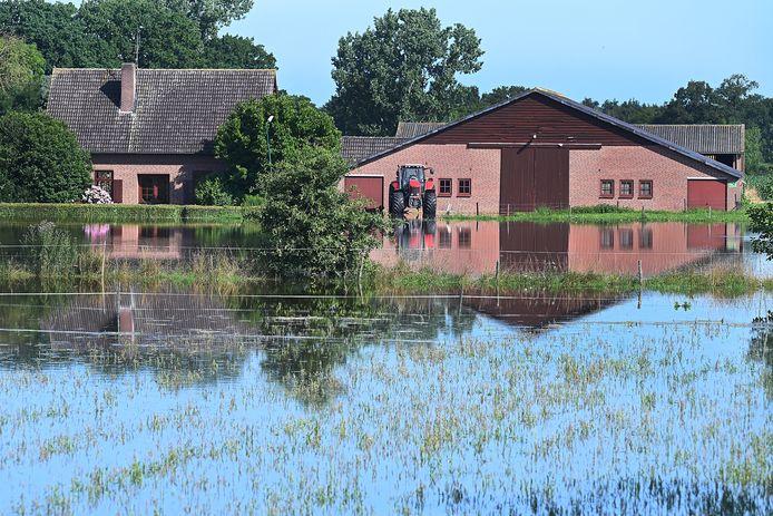 Het Hoogwater aan de Hoogendijk in Boxmeer is tot aan de voet van de dijk gekomen. Alle inwoners erachter houden het niet droog.