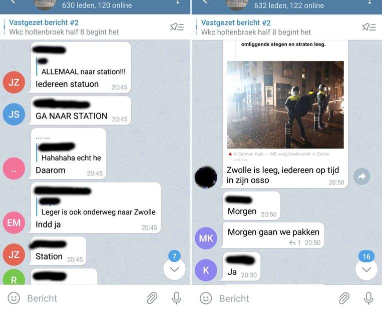 Screenshots van gesprekken in de Telegram-groep rondom de rellen in Zwolle.  Beeld de Stentor