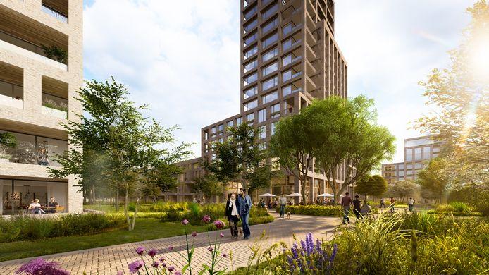 Een toekomstbeeld van het hart van de nieuwe Eureka-wijk in Breda, met in het midden een woontoren van ongeveer vijftig meter.