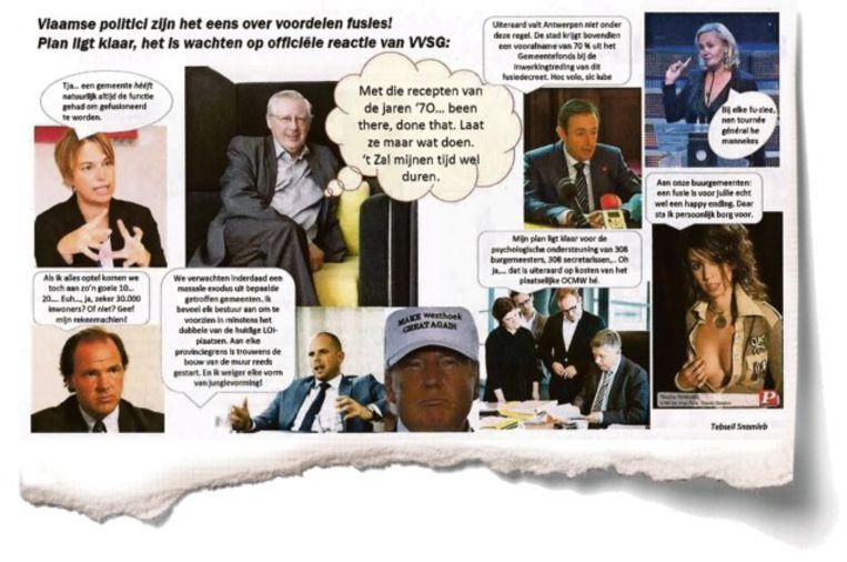 N-VA kan niet lachen met de ludiek bedoelde folder van de VVSG. Beeld Het Nieuwsblad
