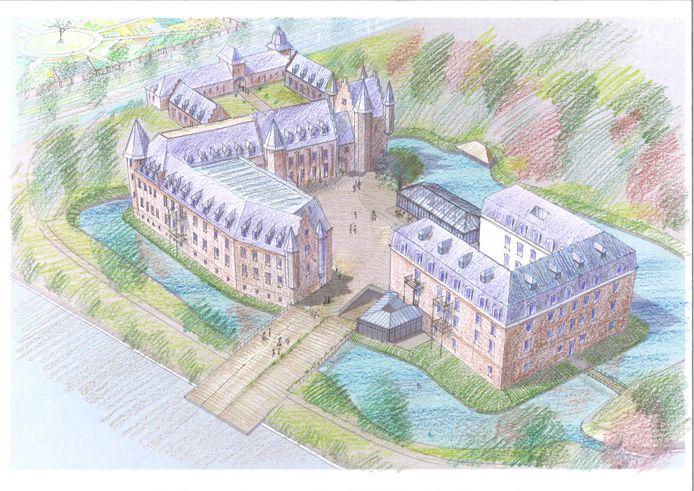 Een schets van het kasteel in Gemert zoals er dat in 2022 uit zou moeten zien. Op de voorgrond de brug die het kasteelterrein met het Ridderplein verbindt. Op de plek van de kapel de wintertuin.