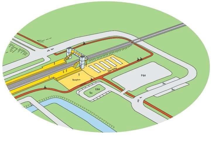 Een voorbeeldschets van de spoorwegovergang. Er zijn diverse opties