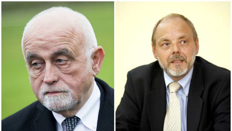 Vlaams Parlementsvoorzitter Jan Peumans (N-VA) (links). Het aangehouden Vlaams Parlementslid Christian Van Eyken (Union des Francophones) (rechts). Beeld belga