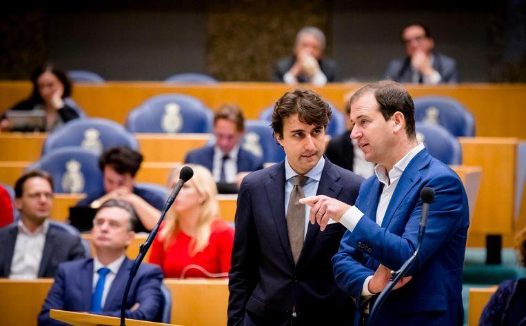 Klaver (GroenLinks) en Asscher (PvdA) in de Tweede Kamer. Beeld anp