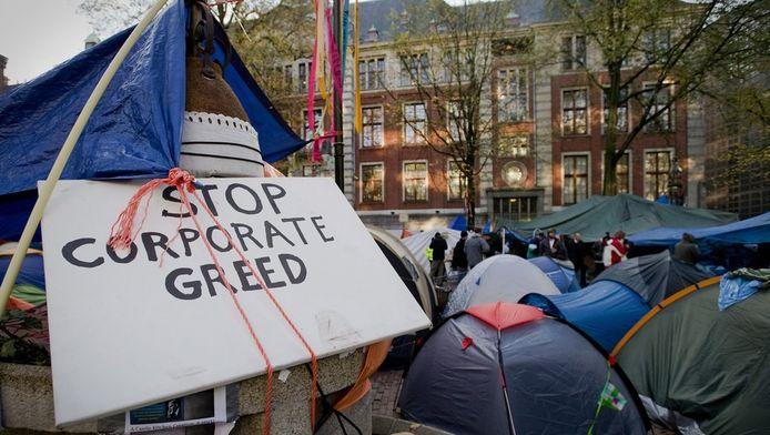 Het Occupy-kamp voor de Amsterdamse beurs. © ANP